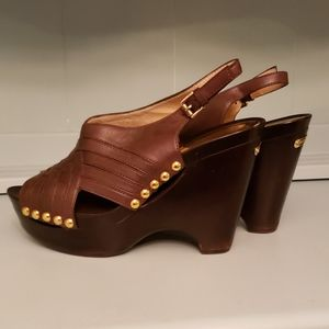 Michael Kors Leather Harlow Sandal Mocha gold 9.5